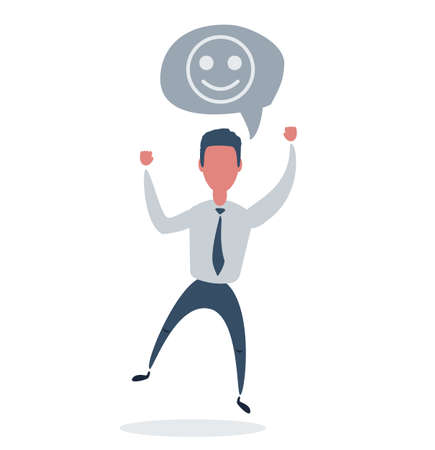Happy businessman . Likes and positive feedback concept. Stock flat vector illustration.