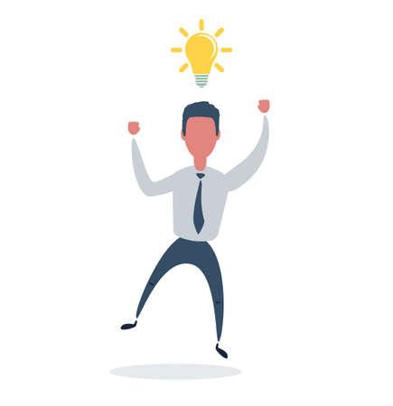 Businessman under a light bulb. Man with idea. Leadership concept. A Contemporary style. vector illustration. Stock Illustratie