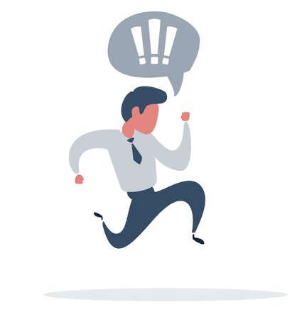 Businessman is running. Business concept illustration. Success, race, competition, process concept. Vector flat design illustration.