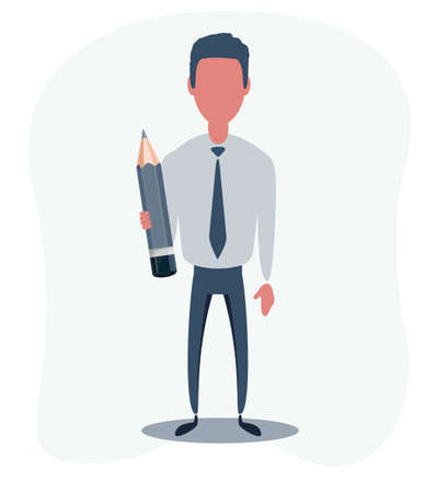 Businessman or clerk. Male character in trendy simple style, flat vector illustration. Business concept.
