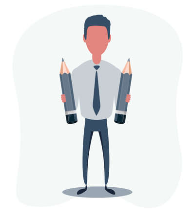 Businessman or clerk. Male character in trendy simple style, flat vector illustration. Illustration