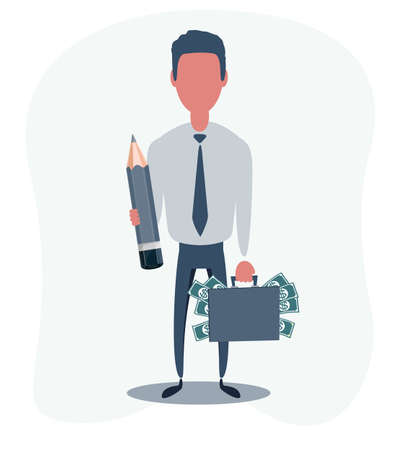 Businessman or clerk. Male character in trendy simple style, flat vector illustration. 向量圖像