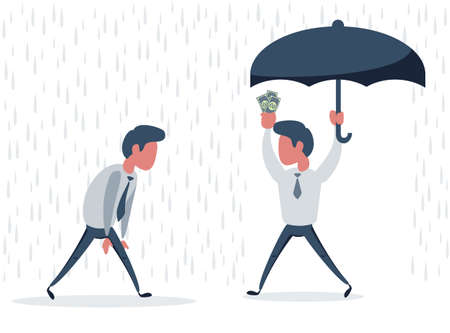 Businessman go from the rain while another businessman has the umbrella. Vector flat design illustration. 向量圖像