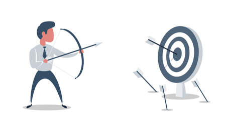 Successful businessman character shoots or aiming at the target. Business concept illustration. Vector flat design illustration. Ilustração