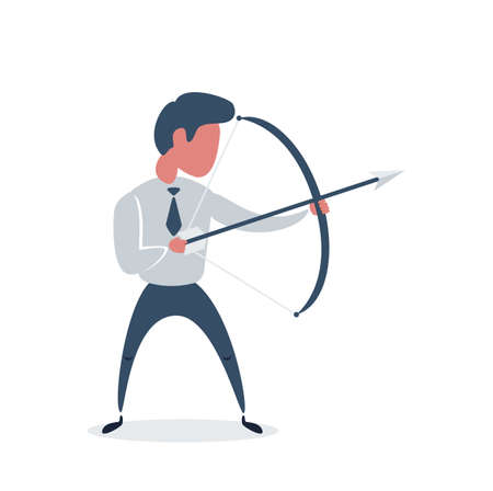Businessman with bow and arrow. Male holding bow and arrow aiming to shoot.
