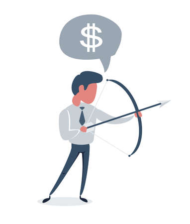 Successful businessman aiming target with bow and arrow.
