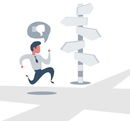 Right direction. A businessman looks at arrows pointing to many directions. Concept business vector illustration 向量圖像
