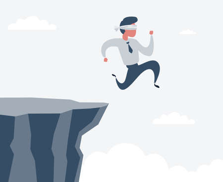blindfolded businessman run to the cliff. Business concept. Stock flat vector illustration.