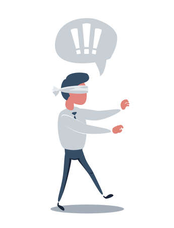 Young blindfolded businessman trying to find the right direction. Business concept. Stock flat vector illustration.
