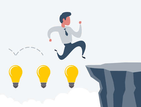 Business man jumping over cliff gap. Concept of business risk and success. Business competition vector illustration Vetores