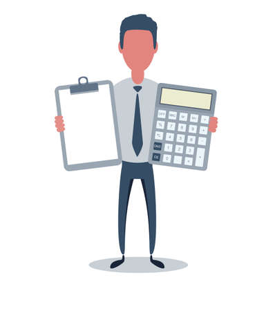 Businessman or clerk. Male character in trendy simple style with objects, flat vector illustration. Illustration