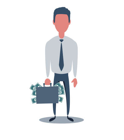 Businessman or clerk. Male character in trendy simple style with objects, flat vector illustration. Ilustracja