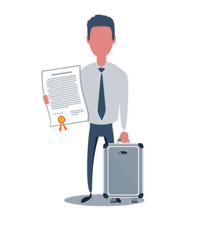 Businessman or clerk. Male character in trendy simple style with objects, flat vector illustration. Archivio Fotografico - 140832921