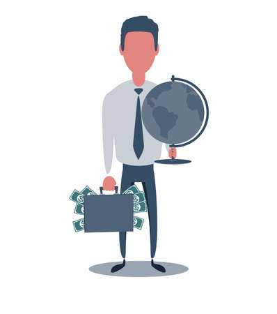 Businessman or clerk. Male character in trendy simple style with objects, flat vector illustration. Ilustração Vetorial