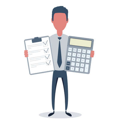 Businessman or clerk. Male character in trendy simple style with objects, flat vector illustration. Ilustración de vector
