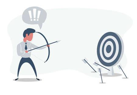 Businessman shooting arrow. Missed the target. Vector flat design illustration.