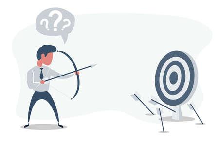 Businessman shooting arrow. Missed the target. Illustration