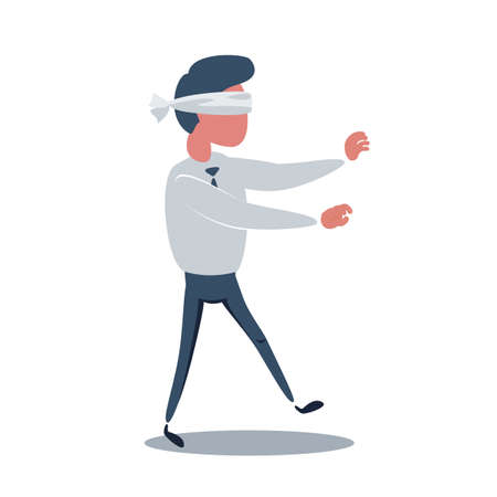 Young blindfolded businessman trying to find the right direction. Business concept.