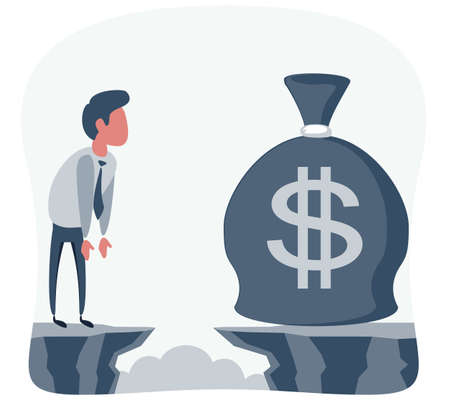 Businessman in front of a gap and looking for the money bag Illustration