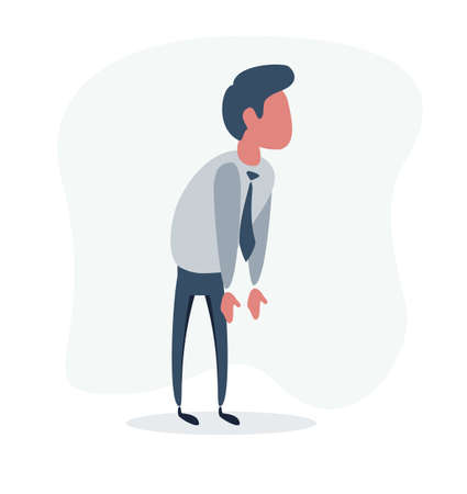 Confused man in shirt shrugging shoulders looking looking at nowhere.Vector flat design illustration.