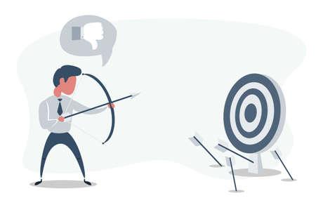 Businessman shooting arrow. Missed the target. Ilustração