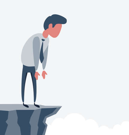 Businessman looking down from mountain top on sky background. Success and challenge concept. Vector flat design illustration. Vettoriali