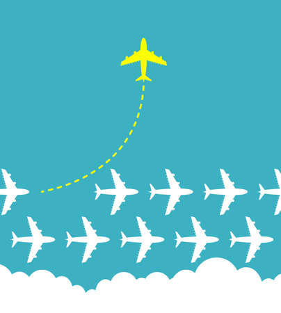Think different business concept illustration, Bright yellow airplane changing direction and white ones.