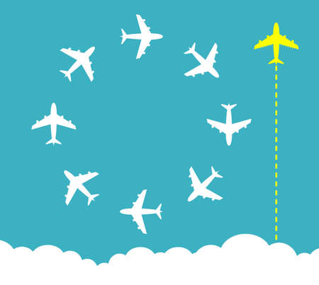 Think different business concept illustration. Bright yellow airplane changing direction and white ones.