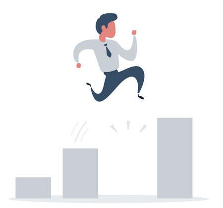 businessman jump over bar charts. Idea and Growth concept.