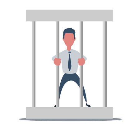 Young businessman behind the bars in prison 矢量图像