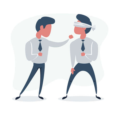 Business People Boxing. Leadership Concept with Characters Fight.