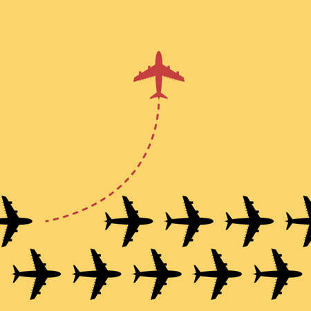 Think different business concept illustration, Red airplane changing direction and white ones.