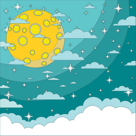 nightly sky with large moon. Vector flat design illustration.