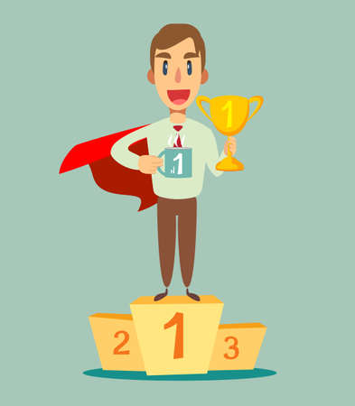 Young super hero with a proud, happy and confident expression, smiling and showing off success while gesturing victory, celebrating triumphantly.