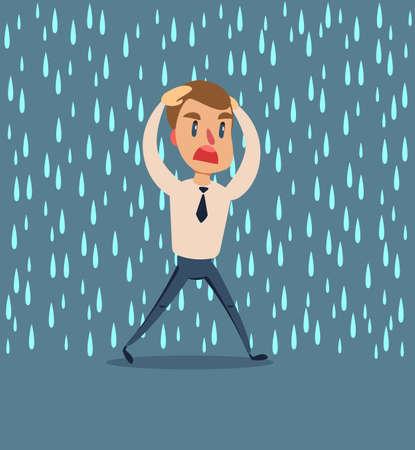 businessman run from the rain .
