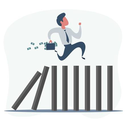 Businessman runs away on dominoes that fall. Domino effect and business crisis concept.