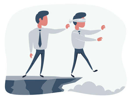 Business man pushing his competitor off the cliff. Concept of competition, sabotage and danger of the corporate business world.