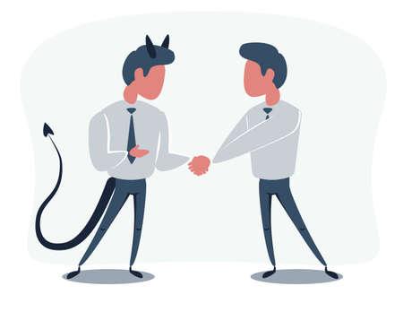 The Deal. Two business mans shaking hands. Vector flat design illustration. Vektorové ilustrace