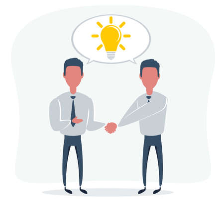 creative concept icon handshake for business and finance. idea, team,best deal, teame work. Flat vector design Vettoriali