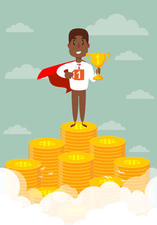 Businessman dressed with superhero cloak is standing on the pile of the coins.