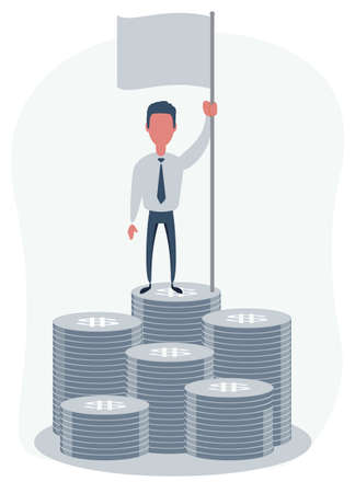 Man with blank flag standing on the top of a pile of money. Vector flat design illustration.