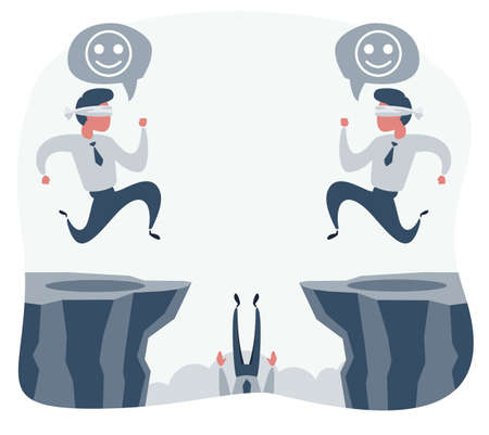 blindfolded businessman walk to the cliff. Business concept. Ilustrace