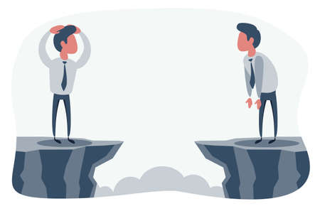 Man and businessman standing on mountain and look at each other. Leadership and success concept Illustration