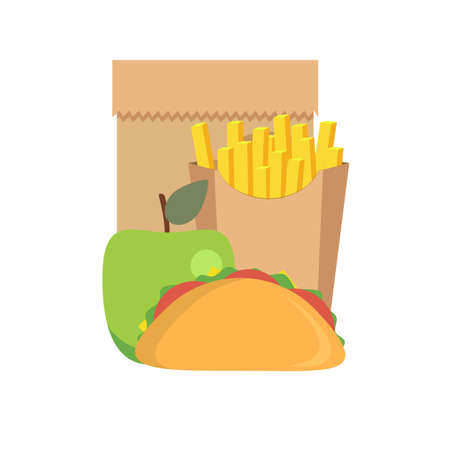 Lunch icons , such as french fries, sandwich and apple