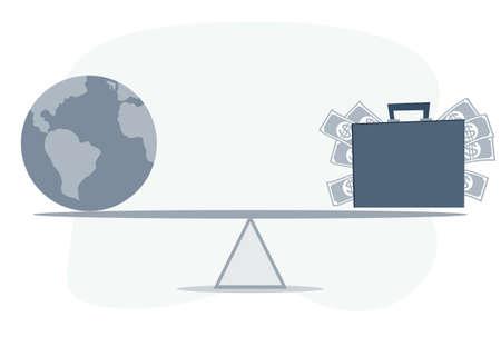 World globe and money balancing on a seesaw.