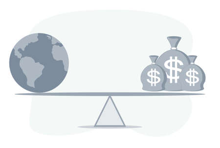 US dollar bag, world globe on balance scale, depicts the difference between the value of a country imports and exports for a given period Illustration