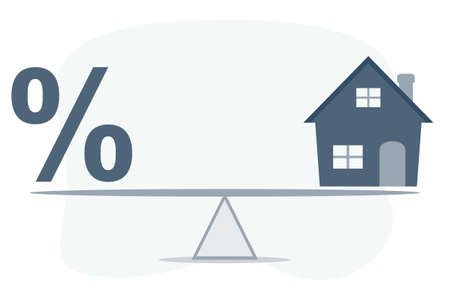 Balance Between Percentage And House Model On Seesaw. Vector flat design illustration. Illustration