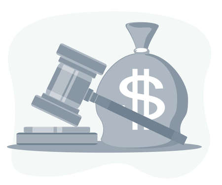 Bag of money with a dollar sign and a judges hammer. Concept lobbying for the adoption of a law or a norms, corruption. Payment of fines and penalties.