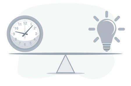 Clock and Lightbulb on seesaw. Vector flat design illustration. Vektorové ilustrace