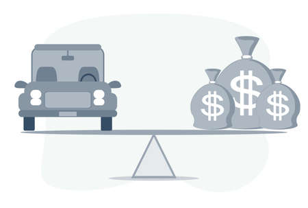 Car, Auto loan or transforming assets into cash concept. Car model, US dollar notes in jute bags on simple balance scale, depicts car owner or borrower turns personal properties into cash or wealth. Vector Illustration